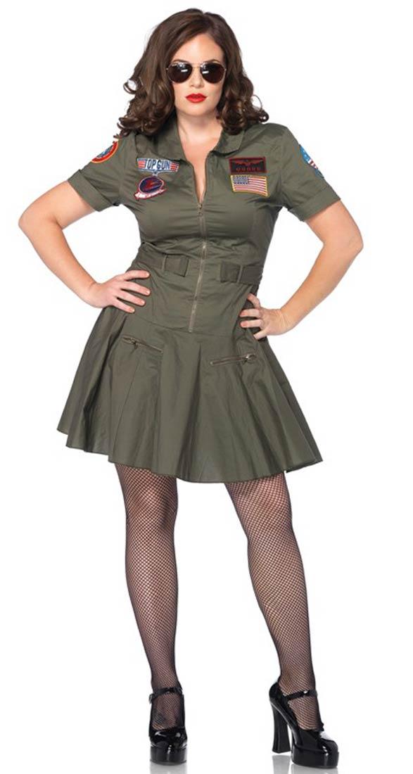 Plus Size Womens Top Gun Costume Abfab Fancydress